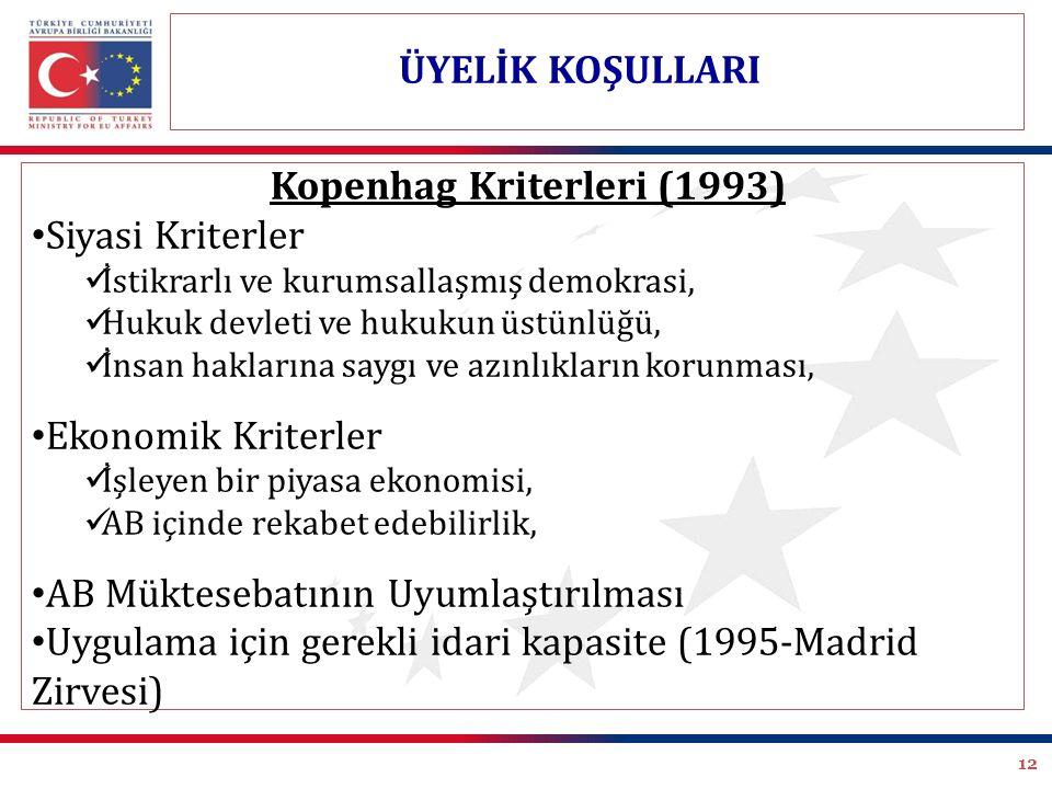12 Kopenhag Kriterleri (1993) Siyasi Kriterler İstikrarlı ve kurumsallaşmış demokrasi, Hukuk devleti ve hukukun üstünlüğü, İnsan haklarına saygı ve az