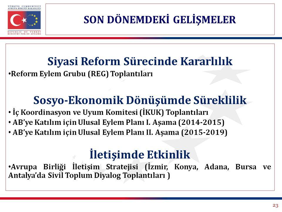 23 Siyasi Reform Sürecinde Kararlılık Reform Eylem Grubu (REG) Toplantıları Sosyo-Ekonomik Dönüşümde Süreklilik İç Koordinasyon ve Uyum Komitesi (İKUK