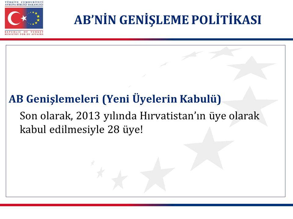 AB Genişlemeleri (Yeni Üyelerin Kabulü) Son olarak, 2013 yılında Hırvatistan'ın üye olarak kabul edilmesiyle 28 üye! AB'NİN GENİŞLEME POLİTİKASI