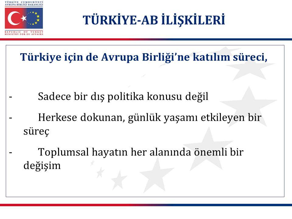 Türkiye için de Avrupa Birliği'ne katılım süreci, -Sadece bir dış politika konusu değil -Herkese dokunan, günlük yaşamı etkileyen bir süreç -Toplumsal