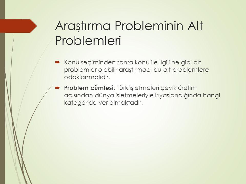 Araştırma Probleminin Alt Problemleri  Konu seçiminden sonra konu ile ilgili ne gibi alt problemler olabilir araştırmacı bu alt problemlere odaklanma
