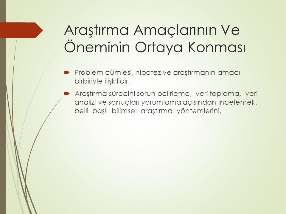 Araştırma Amaçlarının Ve Öneminin Ortaya Konması  Problem cümlesi, hipotez ve araştırmanın amacı birbiriyle ilişkilidir.  Araştırma sürecini sorun b