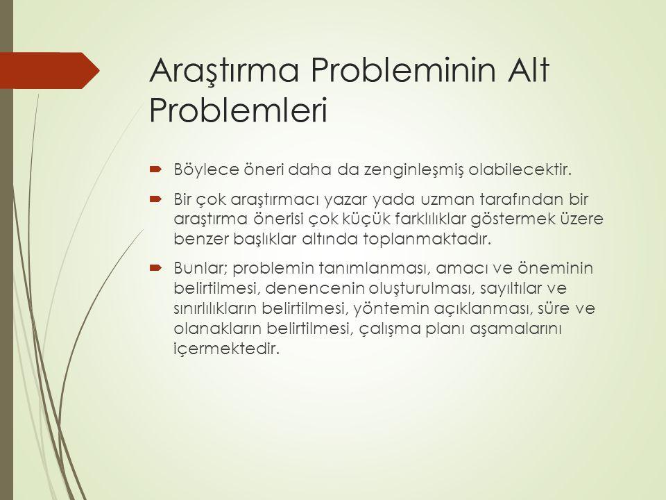 Araştırma Probleminin Alt Problemleri  Böylece öneri daha da zenginleşmiş olabilecektir.  Bir çok araştırmacı yazar yada uzman tarafından bir araştı