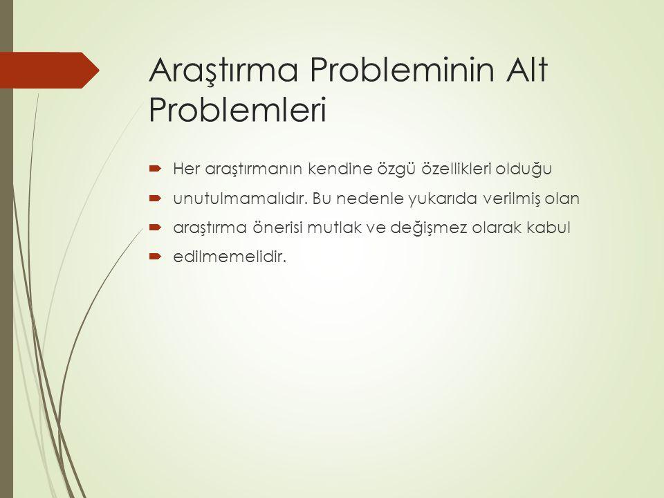 Araştırma Probleminin Alt Problemleri  Her araştırmanın kendine özgü özellikleri olduğu  unutulmamalıdır. Bu nedenle yukarıda verilmiş olan  araştı
