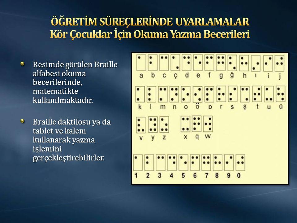 Resimde görülen Braille alfabesi okuma becerilerinde, matematikte kullanılmaktadır. Braille daktilosu ya da tablet ve kalem kullanarak yazma işlemini