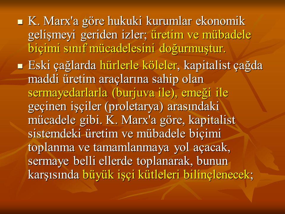 K. Marx'a göre hukuki kurumlar ekonomik gelişmeyi geriden izler; üretim ve mübadele biçimi sınıf mücadelesini doğurmuştur. K. Marx'a göre hukuki kurum