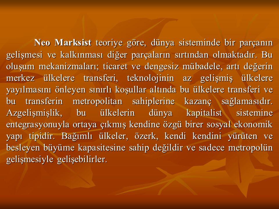 Neo Marksist teoriye göre, dünya sisteminde bir parçanın gelişmesi ve kalkınması diğer parçaların sırtından olmaktadır.