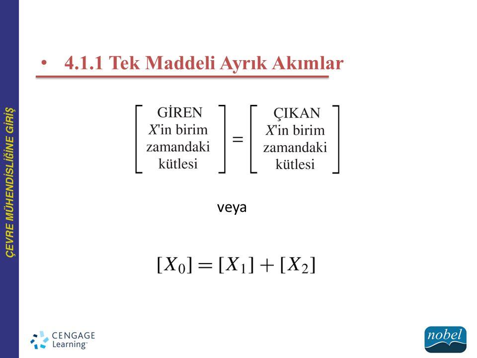 X maddesi iki fraksiyondan daha fazla maddeye de ayrılabilir, bu durumda kütle dengesi şu şekilde yazılabilir.