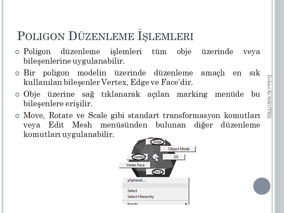 P OLIGON D ÜZENLEME İ ŞLEMLERI Poligon düzenleme işlemleri tüm obje üzerinde veya bileşenlerine uygulanabilir. Bir poligon modelin üzerinde düzenleme
