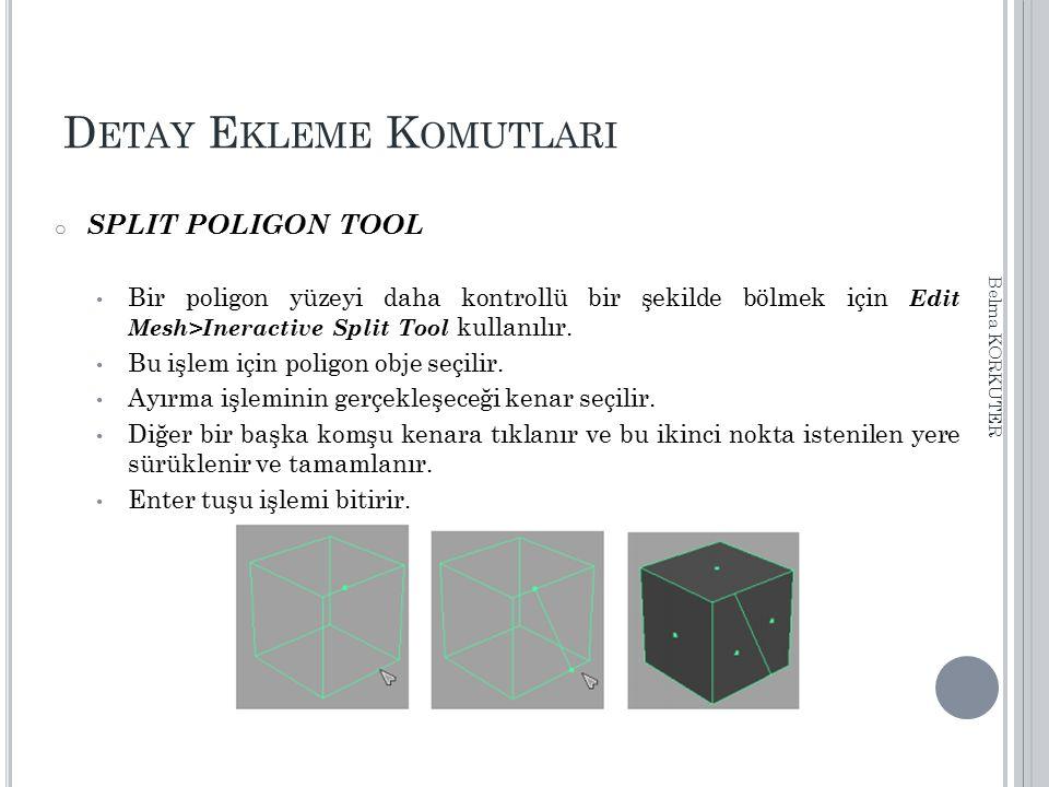 D ETAY E KLEME K OMUTLARI o SPLIT POLIGON TOOL Bir poligon yüzeyi daha kontrollü bir şekilde bölmek için Edit Mesh>Ineractive Split Tool kullanılır. B