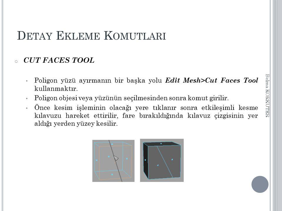 D ETAY E KLEME K OMUTLARI o CUT FACES TOOL Poligon yüzü ayırmanın bir başka yolu Edit Mesh>Cut Faces Tool kullanmaktır. Poligon objesi veya yüzünün se