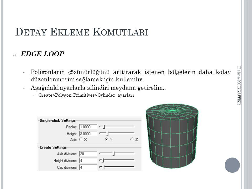 D ETAY E KLEME K OMUTLARI o EDGE LOOP Poligonların çözünürlüğünü arttırarak istenen bölgelerin daha kolay düzenlenmesini sağlamak için kullanılır. Aşa