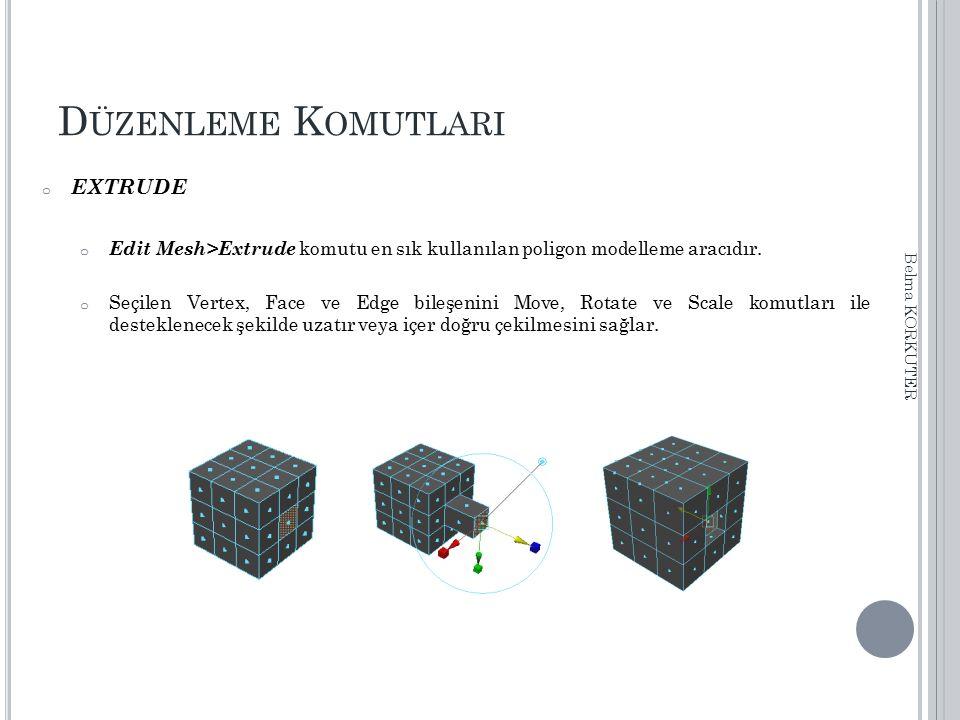 D ÜZENLEME K OMUTLARI o EXTRUDE o Edit Mesh>Extrude komutu en sık kullanılan poligon modelleme aracıdır. o Seçilen Vertex, Face ve Edge bileşenini Mov