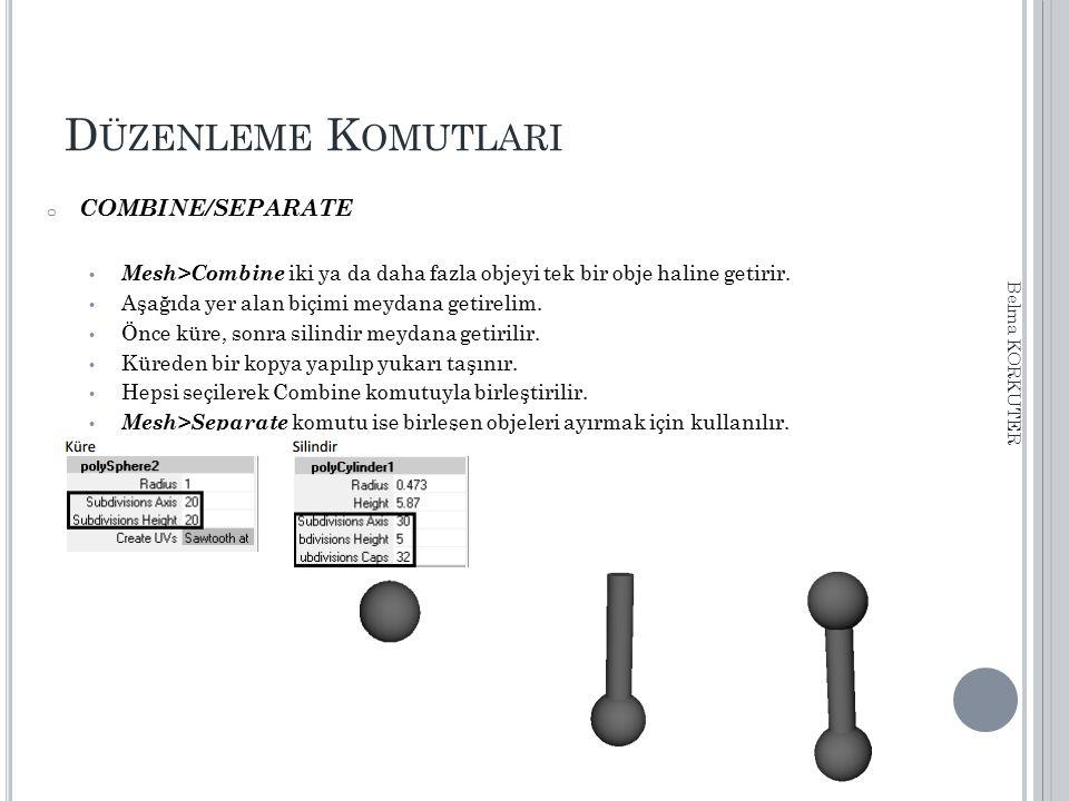 D ÜZENLEME K OMUTLARI o COMBINE/SEPARATE Mesh>Combine iki ya da daha fazla objeyi tek bir obje haline getirir. Aşağıda yer alan biçimi meydana getirel