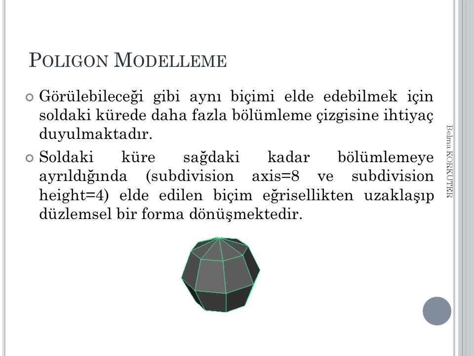 P OLIGON M ODELLEME Görülebileceği gibi aynı biçimi elde edebilmek için soldaki kürede daha fazla bölümleme çizgisine ihtiyaç duyulmaktadır. Soldaki k