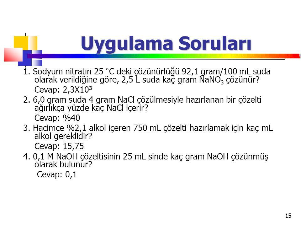 15 Uygulama Soruları 1. Sodyum nitratın 25 °C deki çözünürlüğü 92,1 gram/100 mL suda olarak verildiğine göre, 2,5 L suda kaç gram NaNO 3 çözünür? Ceva