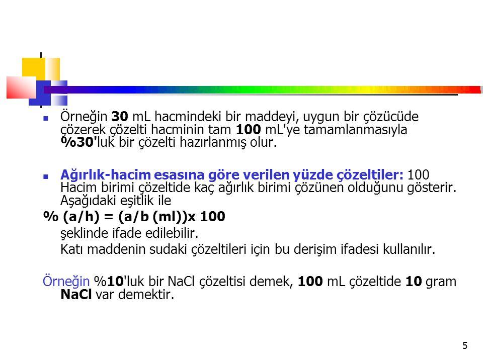 5 Örneğin 30 mL hacmindeki bir maddeyi, uygun bir çözücüde çözerek çözelti hacminin tam 100 mL'ye tamamlanmasıyla %30'luk bir çözelti hazırlanmış olur