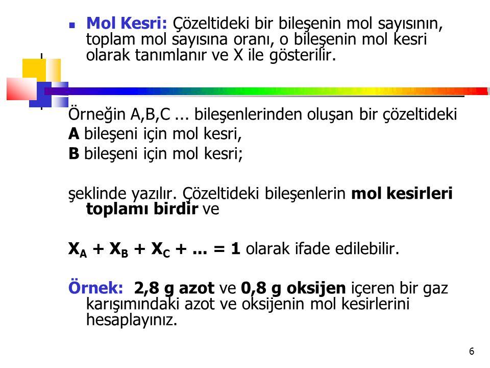 6 Mol Kesri: Çözeltideki bir bileşenin mol sayısının, toplam mol sayısına oranı, o bileşenin mol kesri olarak tanımlanır ve X ile gösterilir. Örneğin