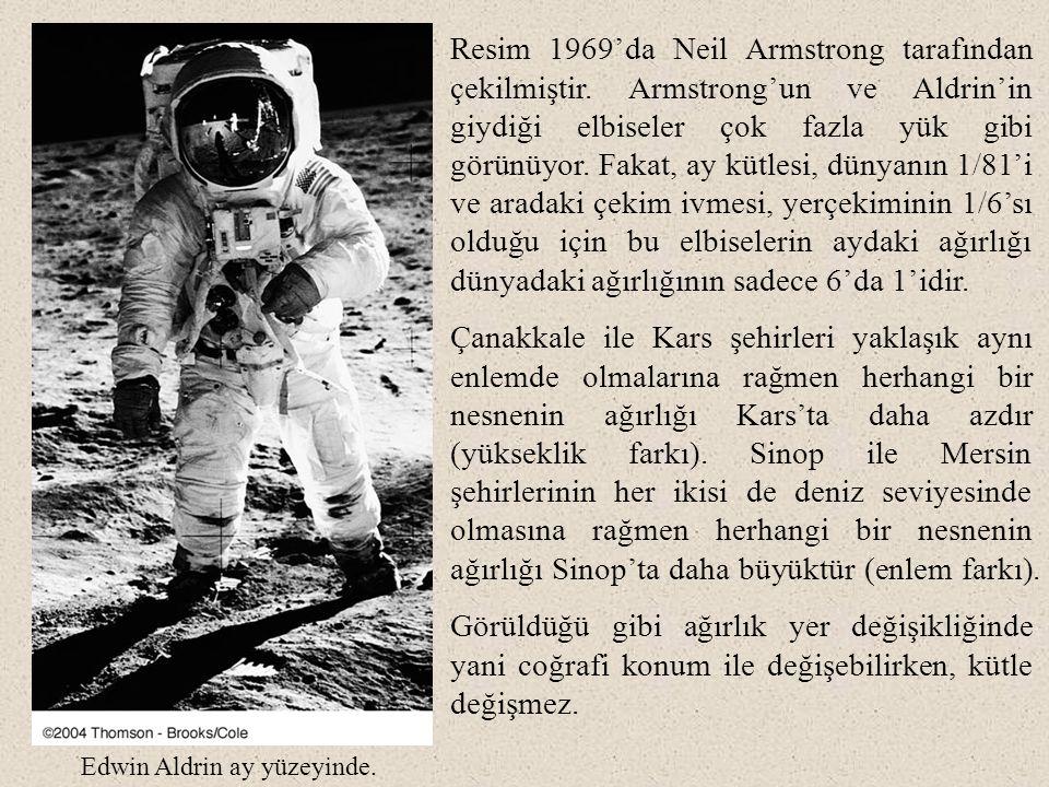 Resim 1969'da Neil Armstrong tarafından çekilmiştir. Armstrong'un ve Aldrin'in giydiği elbiseler çok fazla yük gibi görünüyor. Fakat, ay kütlesi, düny
