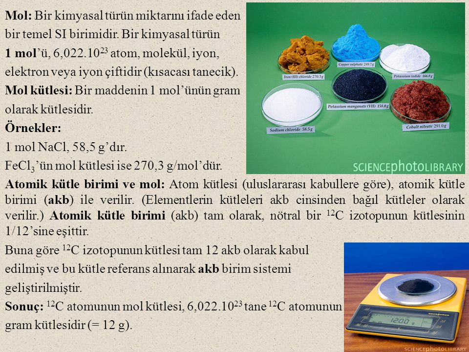 Çözeltilerin yoğunluğu ve özgül ağırlığı: Bir maddenin yoğunluğu, birim hacminin kütlesidir (birimi: kg/L veya g/mL).