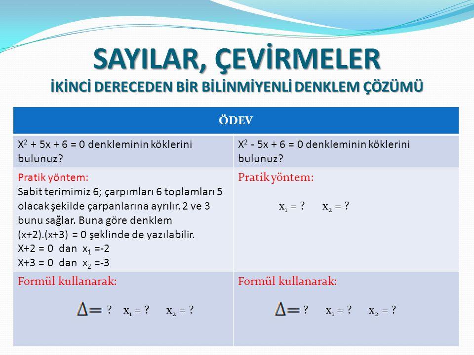 ÖDEV X 2 + 5x + 6 = 0 denkleminin köklerini bulunuz.