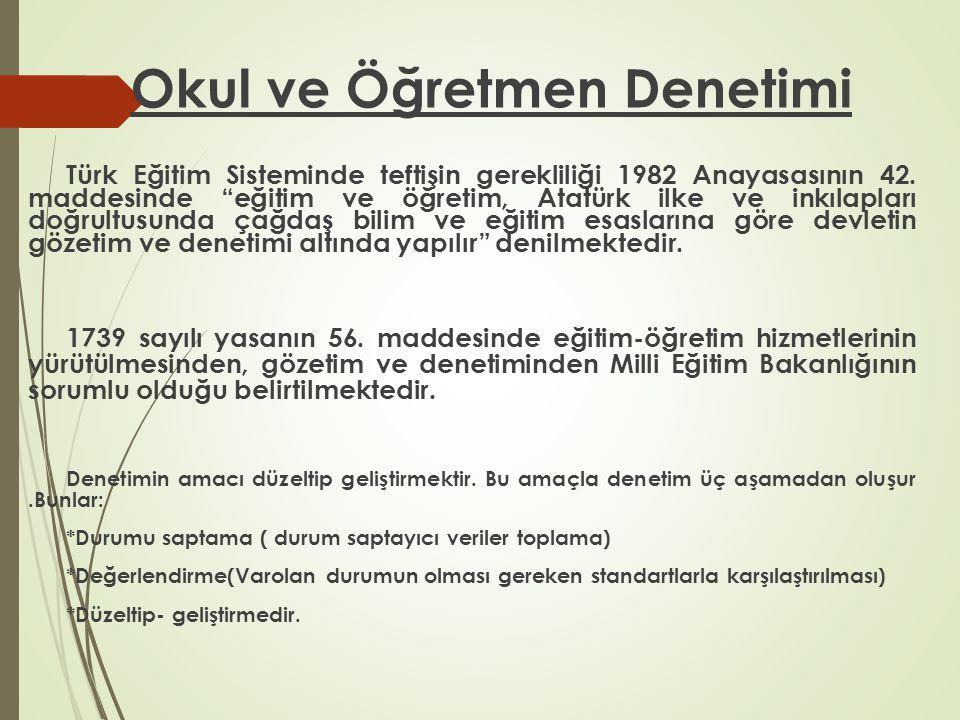 """Okul ve Öğretmen Denetimi Türk Eğitim Sisteminde teftişin gerekliliği 1982 Anayasasının 42. maddesinde """"eğitim ve öğretim, Atatürk ilke ve inkılapları"""