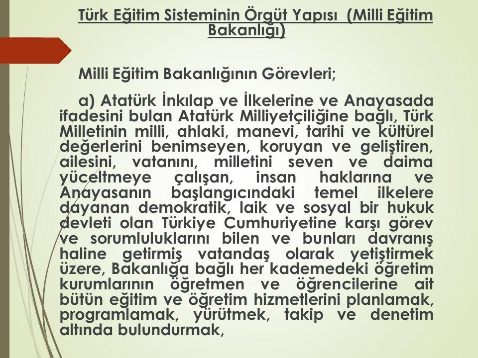Türk Eğitim Sisteminin Örgüt Yapısı (Milli Eğitim Bakanlığı) Milli Eğitim Bakanlığının Görevleri; a) Atatürk İnkılap ve İlkelerine ve Anayasada ifades
