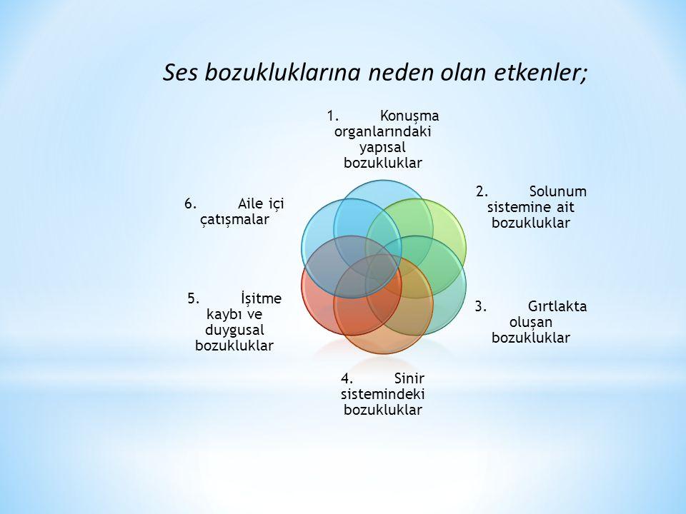 1.Konuşma organlarındaki yapısal bozukluklar 2.Solunum sistemine ait bozukluklar 3.Gırtlakta oluşan bozukluklar 4.Sinir sistemindeki bozukluklar 5.İşi