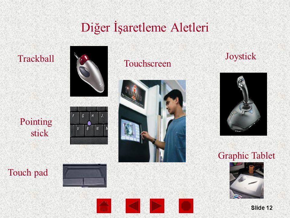 Slide 12 Diğer İşaretleme Aletleri Trackball Pointing stick Touch pad Touchscreen Joystick Graphic Tablet