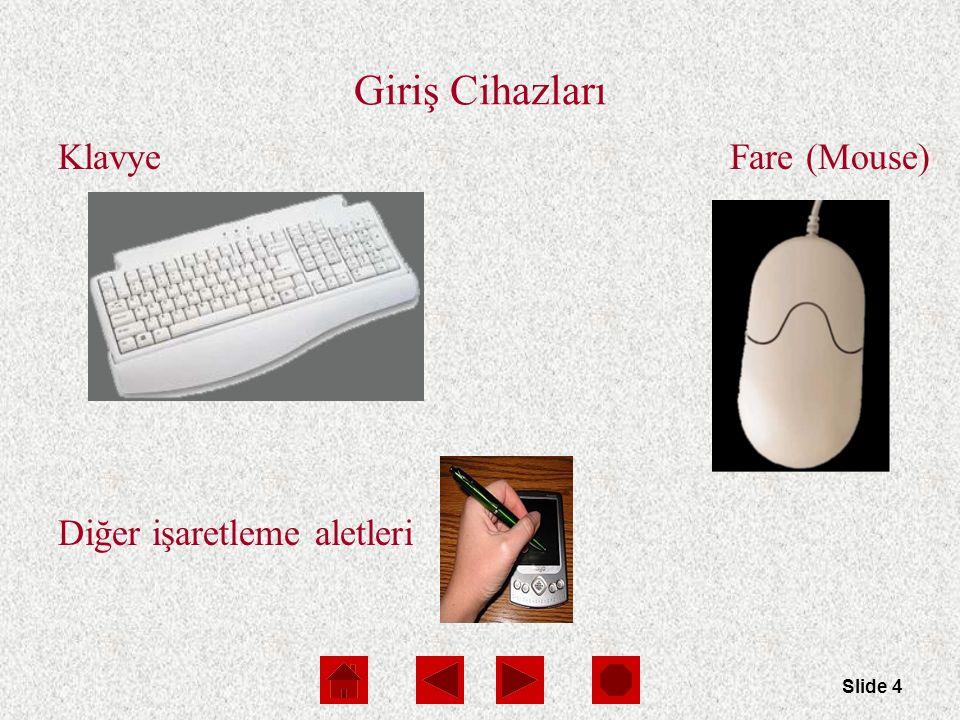 Slide 15 Ekranlar Ekran(Monitor) : Bilgisayar çıkış göstermek için ekran kullanır (soft copy) Ekran çeşitleri :  Cathode-ray tube (CRT)  Liquid Crystal Display (LCD or flat-panel)