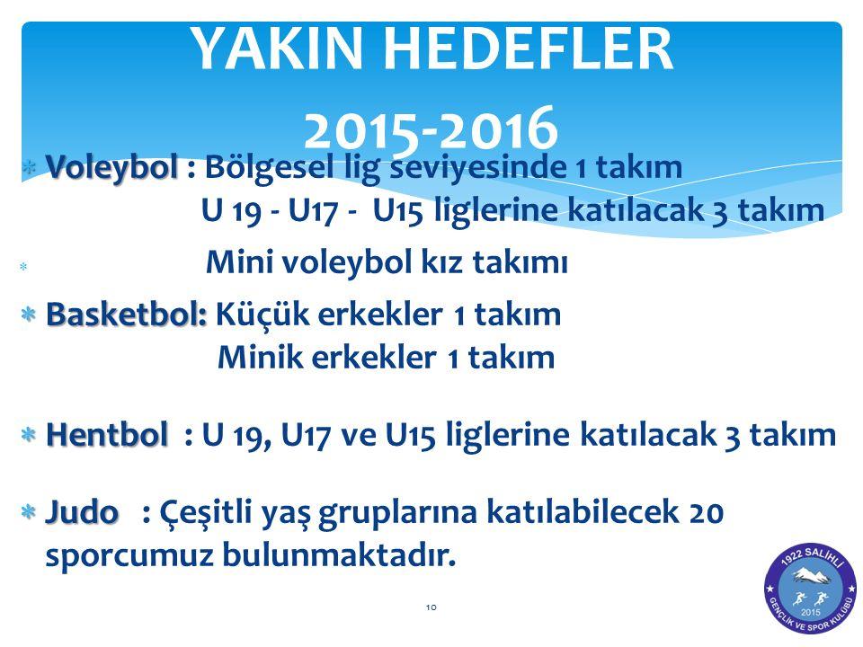  Voleybol  Voleybol : Bölgesel lig seviyesinde 1 takım U 19 - U17 - U15 liglerine katılacak 3 takım  Mini voleybol kız takımı  Basketbol:  Basket
