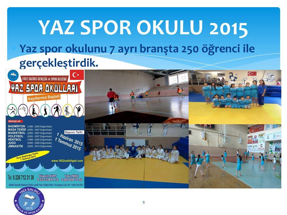  Yaz spor okulunu 7 ayrı branşta 250 öğrenci ile gerçekleştirdik. YAZ SPOR OKULU 2015 9