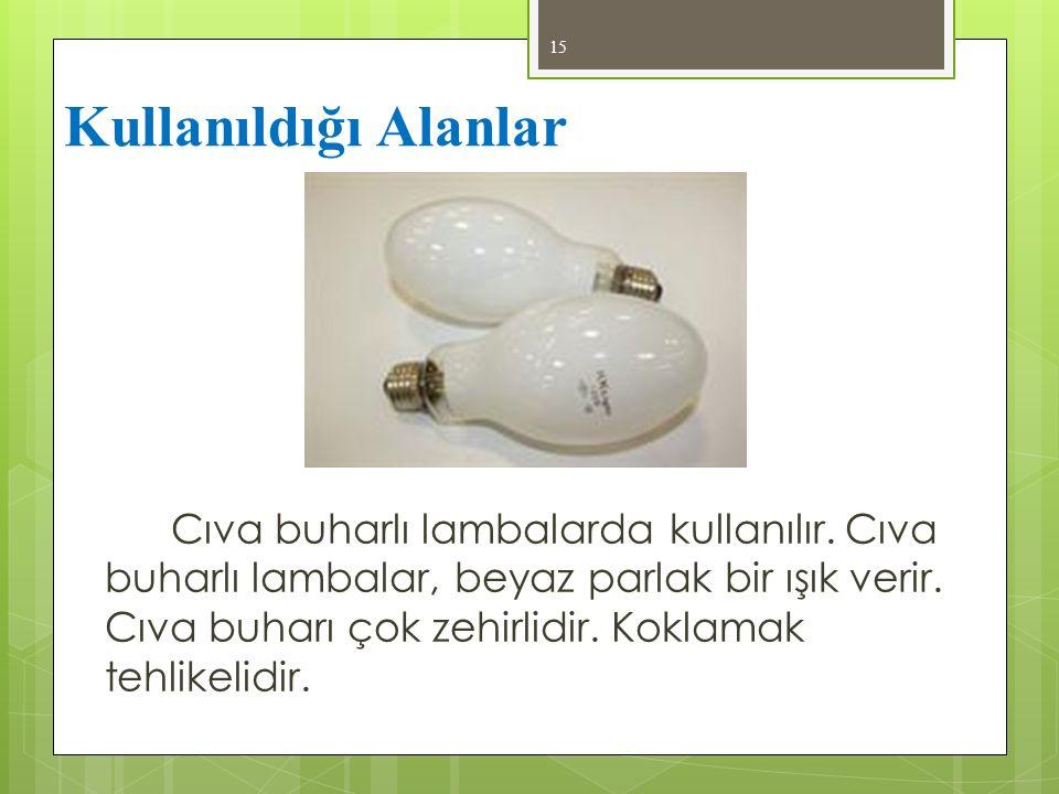 Cıva buharlı lambalarda kullanılır. Cıva buharlı lambalar, beyaz parlak bir ışık verir. Cıva buharı çok zehirlidir. Koklamak tehlikelidir. 15 Kullanıl