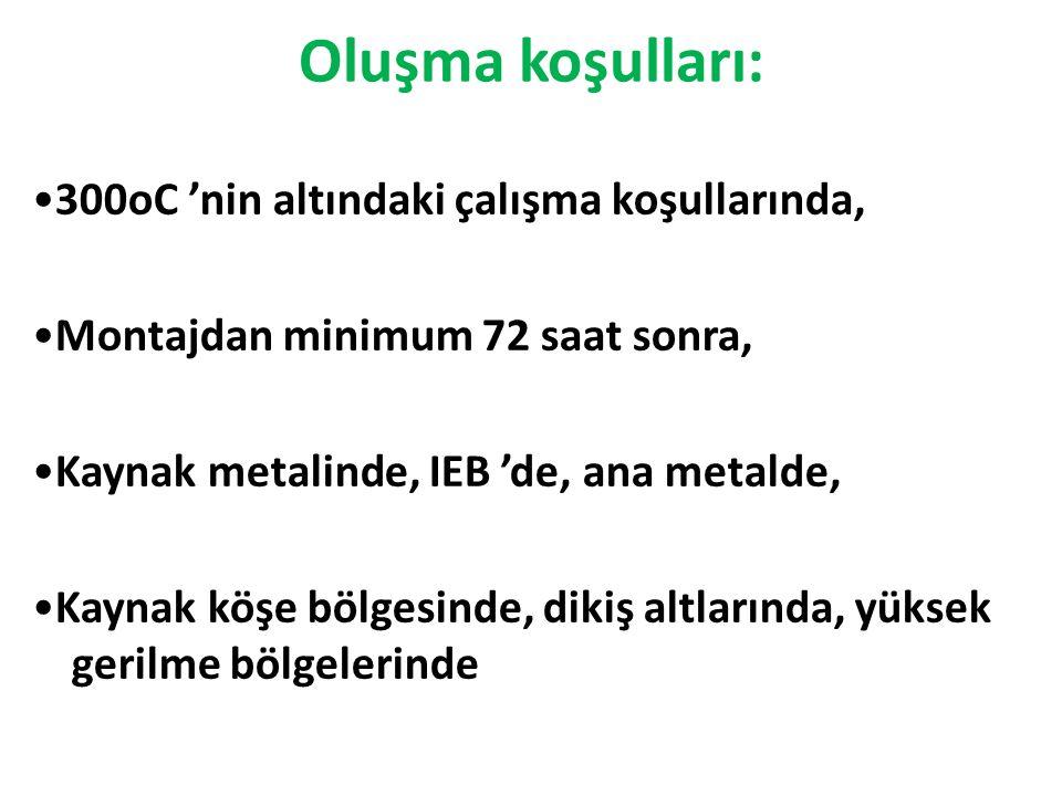 Oluşma koşulları: 300oC 'nin altındaki çalışma koşullarında, Montajdan minimum 72 saat sonra, Kaynak metalinde, IEB 'de, ana metalde, Kaynak köşe bölg