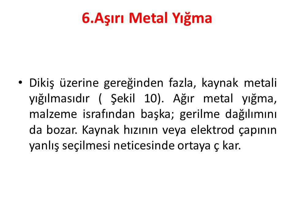 6.Aşırı Metal Yığma Dikiş üzerine gereğinden fazla, kaynak metali yığılmasıdır ( Şekil 10). Ağır metal yığma, malzeme israfından başka; gerilme dağılı
