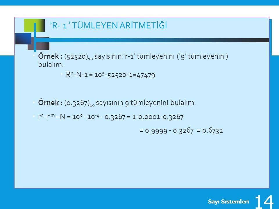 'R- 1 ' TÜMLEYEN ARİTMETİĞİ  Örnek : (52520) 10 sayısının 'r-1' tümleyenini ('9' tümleyenini) bulalım.  R n -N-1 = 10 5 -52520-1=47479  Örnek : (0.