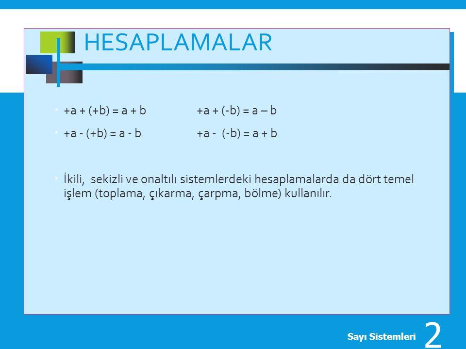 HESAPLAMALAR  +a + (+b) = a + b +a + (-b) = a – b  +a - (+b) = a - b +a - (-b) = a + b  İkili, sekizli ve onaltılı sistemlerdeki hesaplamalarda da