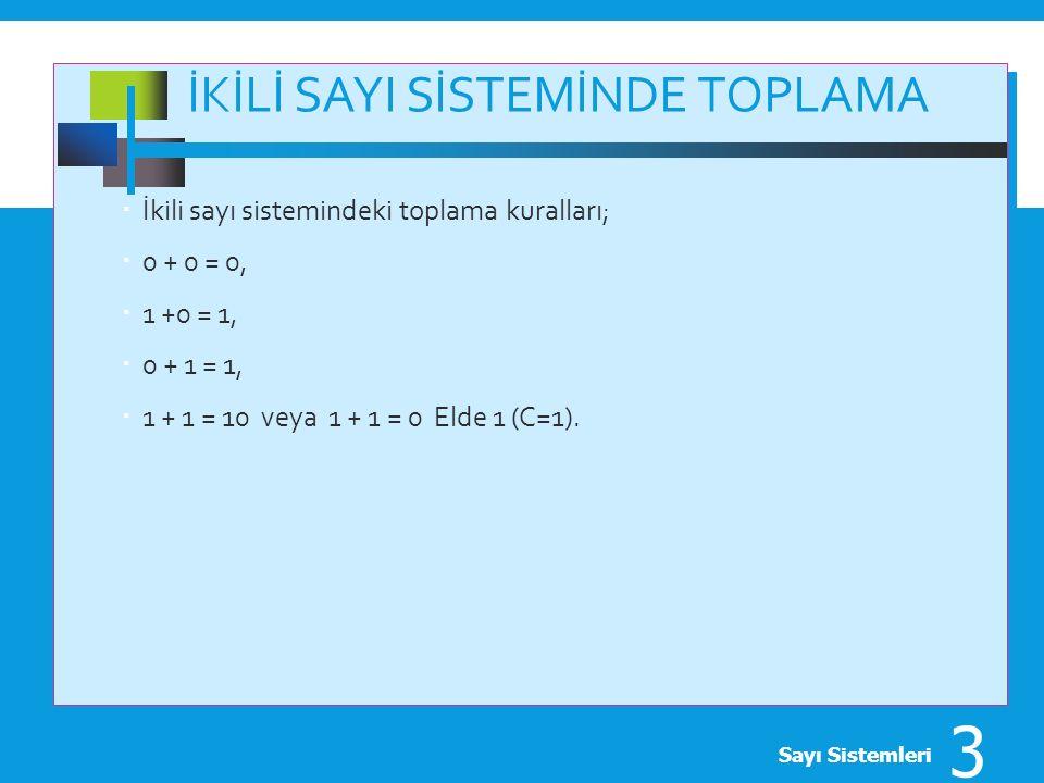 İKİLİ SAYI SİSTEMİNDE TOPLAMA  İkili sayı sistemindeki toplama kuralları;  0 + 0 = 0,  1 +0 = 1,  0 + 1 = 1,  1 + 1 = 10 veya 1 + 1 = 0 Elde 1 (C