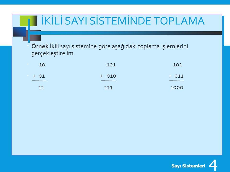 İKİLİ SAYI SİSTEMİNDE TOPLAMA  Örnek İkili sayı sistemine göre aşağıdaki toplama işlemlerini gerçekleştirelim.  10 101 101  + 01 + 010 + 011 11 111