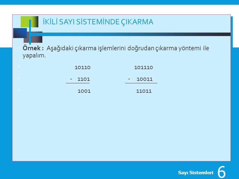 TÜMLEYEN ARİTMETİĞİ  '1' tümleyeni; (2 n -N-1),  '2' tümleyeni; (2 n -N)  'n' 'N' sayısındaki basamak,  Genel bir ifade ile,  'r tümleyeni' ve  'r-1 tümleyeni' Sayı Sistemleri 7