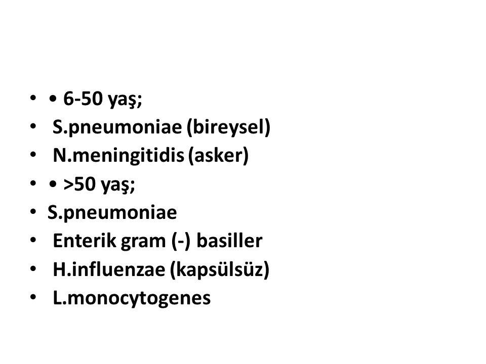 6-50 yaş; S.pneumoniae (bireysel) N.meningitidis (asker) >50 yaş; S.pneumoniae Enterik gram (-) basiller H.influenzae (kapsülsüz) L.monocytogenes