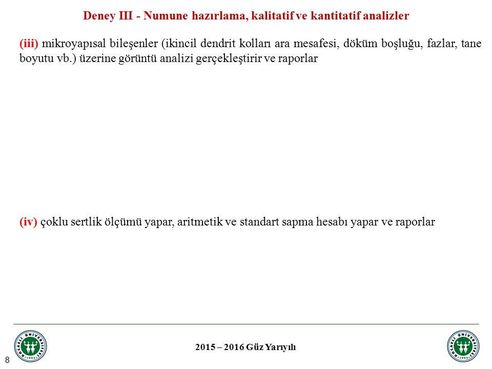 8 Deney III - Numune hazırlama, kalitatif ve kantitatif analizler 2015 – 2016 Güz Yarıyılı (iii) mikroyapısal bileşenler (ikincil dendrit kolları ara