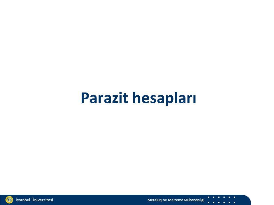 Materials and Chemistry İstanbul Üniversitesi Metalurji ve Malzeme Mühendisliği İstanbul Üniversitesi Metalurji ve Malzeme Mühendisliği Parazit hesapları