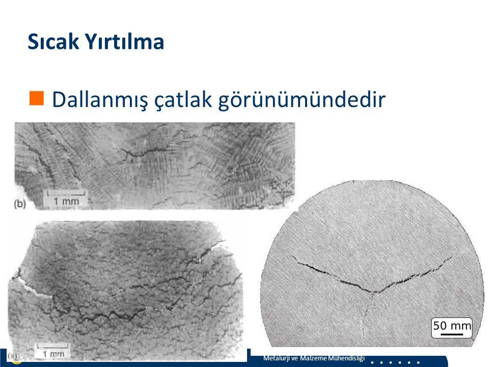 Materials and Chemistry İstanbul Üniversitesi Metalurji ve Malzeme Mühendisliği İstanbul Üniversitesi Metalurji ve Malzeme Mühendisliği Sıcak Yırtılma Dallanmış çatlak görünümündedir