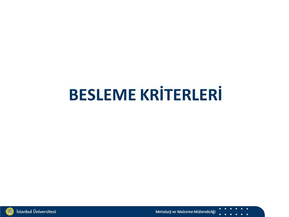 Materials and Chemistry İstanbul Üniversitesi Metalurji ve Malzeme Mühendisliği İstanbul Üniversitesi Metalurji ve Malzeme Mühendisliği BESLEME KRİTERLERİ
