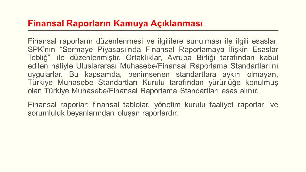 """Finansal Raporların Kamuya Açıklanması Finansal raporların düzenlenmesi ve ilgililere sunulması ile ilgili esaslar, SPK'nın """"Sermaye Piyasası'nda Fina"""