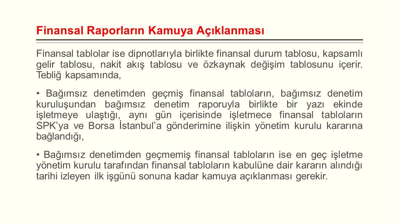 Finansal Raporların Kamuya Açıklanması Finansal tablolar ise dipnotlarıyla birlikte finansal durum tablosu, kapsamlı gelir tablosu, nakit akış tablosu