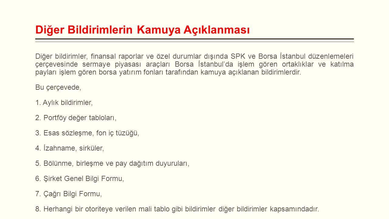 Diğer Bildirimlerin Kamuya Açıklanması Diğer bildirimler, finansal raporlar ve özel durumlar dışında SPK ve Borsa İstanbul düzenlemeleri çerçevesinde