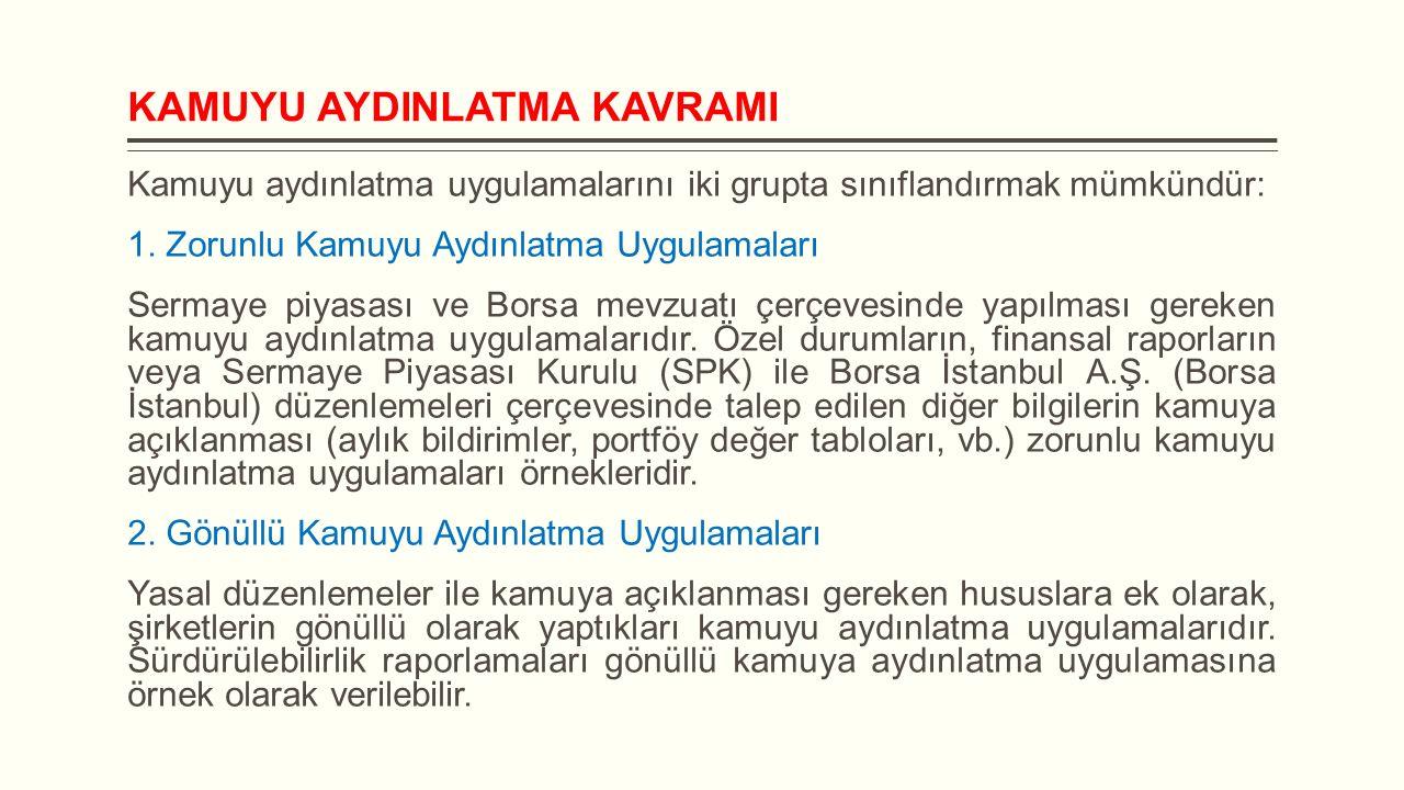KAMUYU AYDINLATMA Sermaye piyasası araçları Borsa İstanbul'da işlem gören ortaklıkların kamuyu aydınlatma yükümlülükleri: 1.