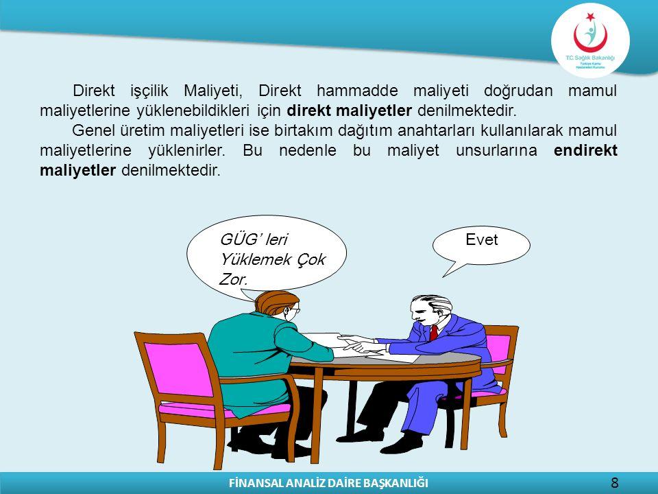 FİNANSAL ANALİZ DAİRE BAŞKANLIĞI 8 Direkt işçilik Maliyeti, Direkt hammadde maliyeti doğrudan mamul maliyetlerine yüklenebildikleri için direkt maliye